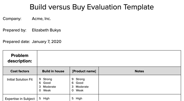 Preview image of Build vs. Buy template doc